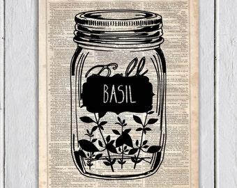 Mason Jar Basil Kitchen Decor, Dictionary Art Print, Upcycled Book Art, Silhouette,dictionary page Wall Decor, Wall Hanging, Mixed Media Art