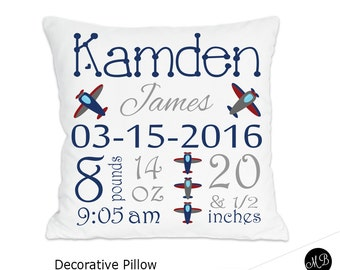 Baby girl or baby boy birth stats pillow personalized baby airplane name pillow for baby boy airplane nursery personalized baby gift pillow negle Gallery