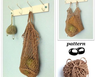 Crochet Bag Pattern / String Bag Pattern / Crochet Tote Pattern / Mesh Bag / Folding Bag