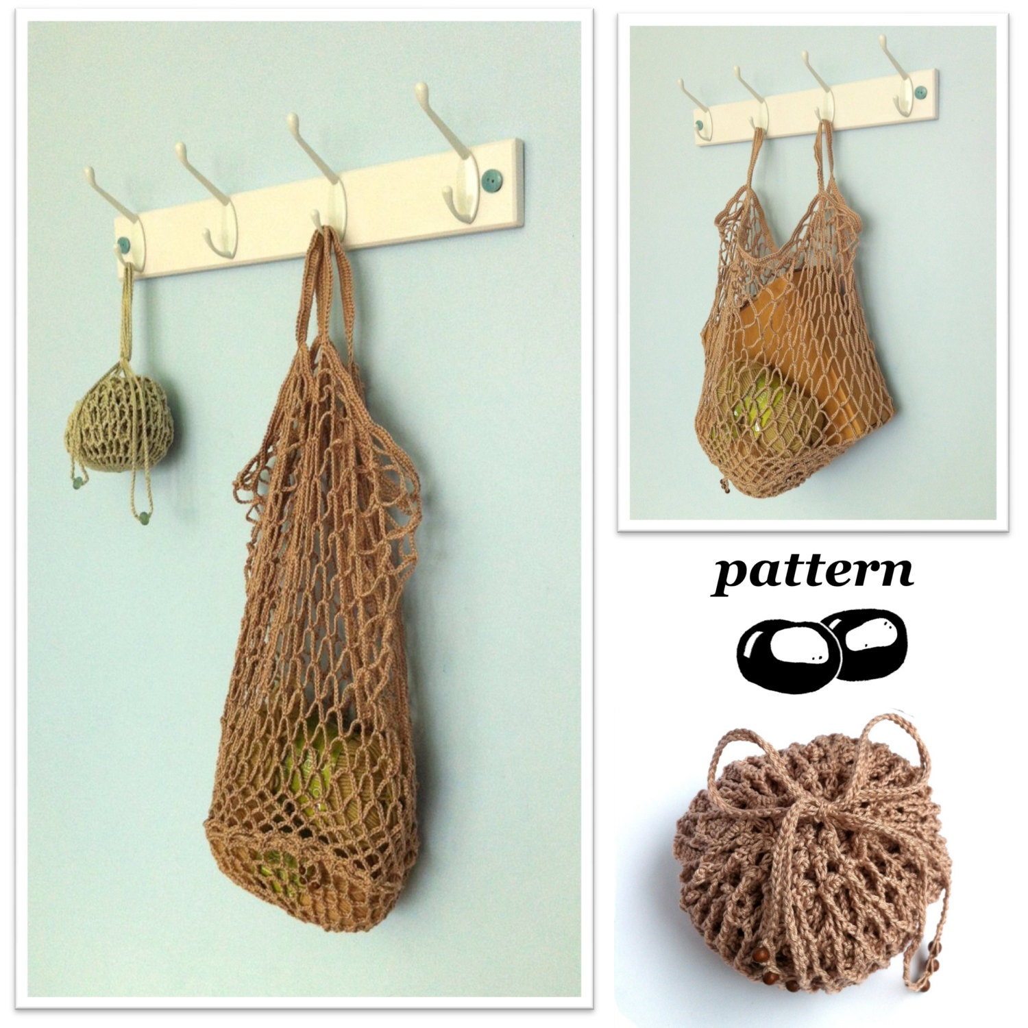 Crochet Bag Pattern / Foldable Packaway Mesh Bag String Bag