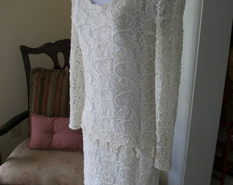 Ivory beaded lace dress, wedding dress, beaded lace gown. lace dress