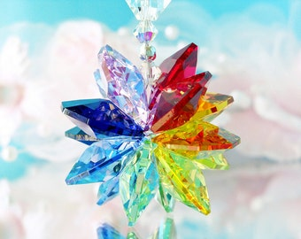 Chakra Rainbow Suncatcher, Rear View Mirror Charm, Swarovski Crystal Car Accessories, Car Mirror Hanger, Car Mirror Charm