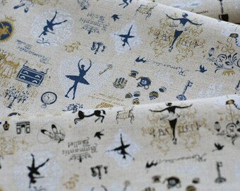 Cotton linen fabric BAL Black 0.5m