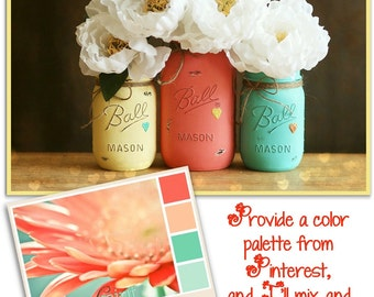 Distressed Mason Jars - Painted Mason Jars - Wedding Decor - Shower Centerpiece - Wedding Centerpiece - Mason Jar Decor - Custom