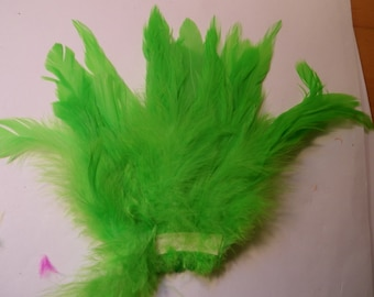 lime green  feathers Strung  Dyed 6 to 8 inches  Schlappen craft feathers real feathers