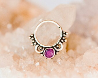 18g Septum Ring- Septum Piercing - Silver Septum Ring - GARNET Septum Ring - 18g Septum Ring - 18 gauge - Silver Nose Ring - Septum Hoop