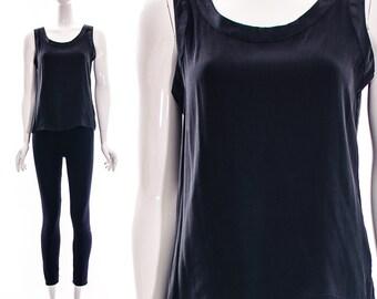 Vtg 90s Black Simple SILK TANK Top Pure Silk MINIMALIST Top Small Medium