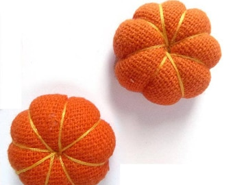 set of 2 flowers Japanese cushions 2,2 cm orange pumpkins