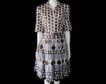 Vintage Hovland Swanson Dress// Polka Dot Dress // White and Brown Dress// 125
