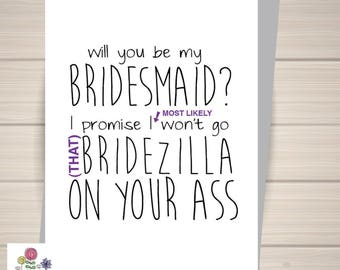 Bridesmaid card will you be my bridesmaid card funny