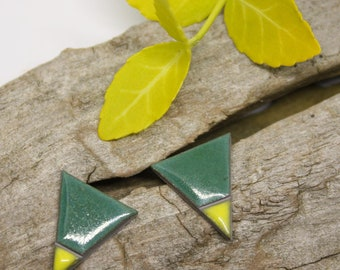 Spring Green Triangle Earrings/ Ceramic earrings/ Silver Stud Earrings/ Geometric earrings /Triangle studs/ Great mothers day gift