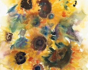 Sunflowers/Sunflowers Giclée Print/Sunflowers Watercolour Print