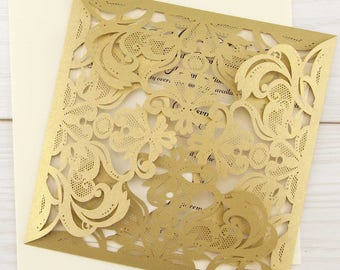 SAMPLE * Farrah Laser Cut Wedding Invitation. Gold Invites
