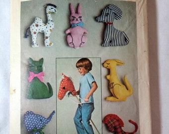 Simplicity 7744 7 Stuffed Toys Vintage 1976 Camel Elephant Hobby Horse Kangaroo Kitten Cat Bunny Rabbit Dog Elephant