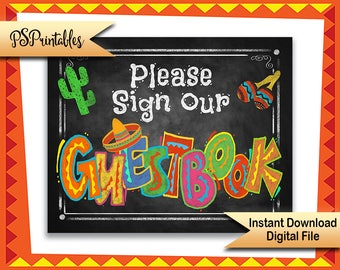 Fiesta Decoration, Sign OUR Guestbook | PRINTABLE Wedding Sign, Mexican Wedding Sign, Fiesta Wedding, Taco Party Decorations, Wedding Decor