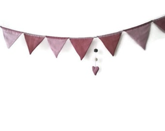 pink bunting- flag, garland for Teepee, tent flag, camp flag, banner, kids teepee bunting, nursery home decor