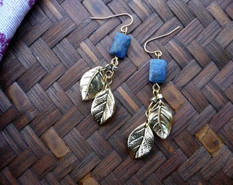 Lapis and Gold Earrings, Gold Leaf, Leaf Jewelry