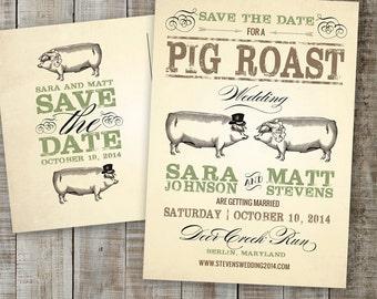 PRINTABLE PDF - Postcard Save the Date, Hog Roast, Pig Roast Wedding