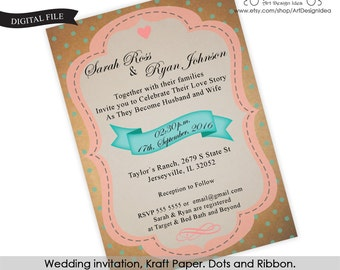 Wedding invitation, Kraft Paper. Dots and Ribbon. Printable, Digital File, pdf and jpg. Texto modificable a español también.