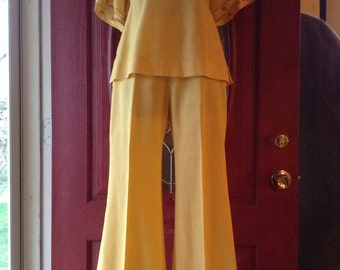 Vintage Yellow Embroidered Pantsuit
