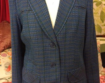 Blue tailored tweed blazer