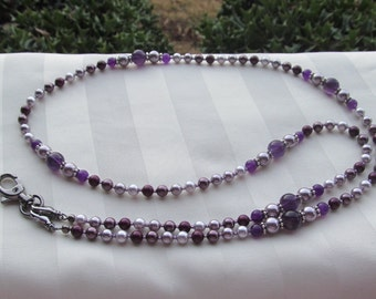 Swarovski Purple Pearl ID Badge Bead Lanyard Necklace ID Badge Holder