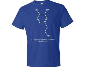 Dopamine Neurotransmitter Molecule T-Shirt, Dopamine T-shirt, Physiology, Biology, Neurochemistry, Science, Biologist, Scientist, Patent