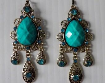 Turquoise Drop Dangle Earrings.