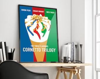 Cornetto Trilogy | Simon Pegg | Nick Frost | Edgar Wright | Poster Print Design | A0 A1 A2 A3 A4
