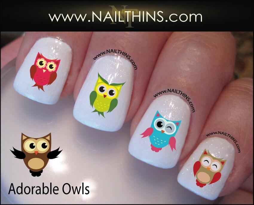 Owls nail decal nailthins nail art owl nail design zoom prinsesfo Images