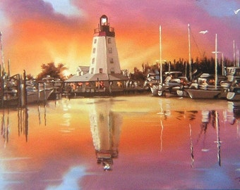 Marathon Key Lighthouse 11 x 17 print (image 8 x 16.5)  by artist RUSTY RUST / M-25-P
