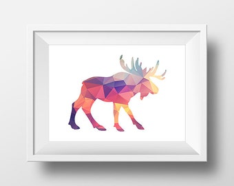 Moose Print, Geometric Print, Geometric Wall Art, Moose Art Print, Moose Printable, Bright Triangle, Low poly art, Nursery Decor.