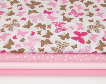 Pink Butterflies 100% cotton printed fabric