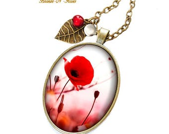 Necklace pretty poppy bronze glass cabochon flower