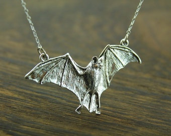 antique silver halloween bat necklace  batman inspired  Vampire  jewelry halloween gift C176N_S