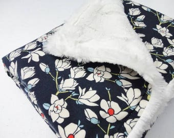 Navy & Ivory Floral Minky Baby Blanket - Made to Order