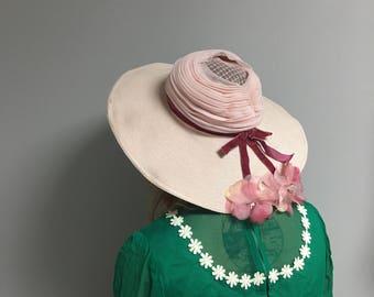 1960s Vintage Pink Chiffon Sunbonnet Hat