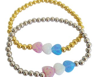 Opal Bracelet, Heart Bracelet, Opal Hearts Bracelets, Stretch Sterling Silver Beads Bracelet • Plus 10% off