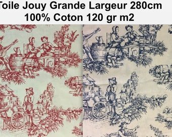 Canvas cotton, wide 280 cm weight 120gr M2 Jouy, red or blue