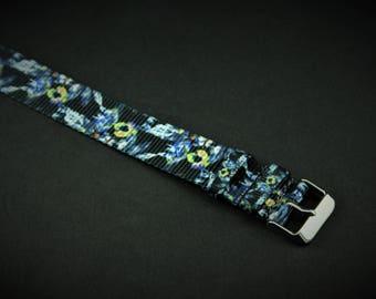 Black Floral Slip Thru Nylon Watch strap - 20mm Timex Weekender Seiko
