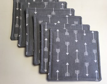 Fabric Coasters Gray With Arrows, Grey  Coasters, With Arrows,  Set of Six