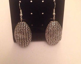 Silver Oval Texture Earrings