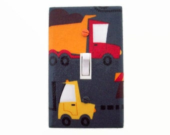 Truck Light Switch Cover - Construction Trucks Switch Plate - Truck Switchplate Cover - Boys Room Decor - Construction Vehicle Wall Decor