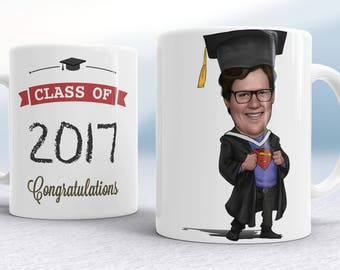 Graduation Gift For Her, Graduation Caricature Mug, Personalized Graduation, Graduation Mug, College Gift, Graduation Gift for her