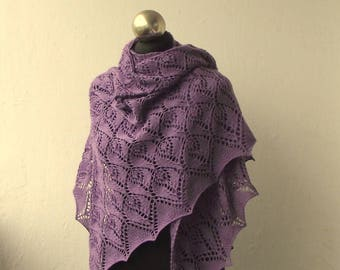 Lavender hand knitted merino shawl with lace pattern
