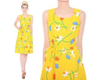 Vintage 60s 70s Malia Yellow FLORAL Mod Cotton Full-Skirt Garden Party Dress M *Free Shipping U.S.* vtg