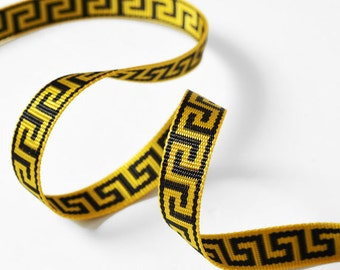 "1/2"" Greek Key webbing trim by 2-Yards, Yellow, TR-11242"