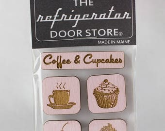Gift for friends. Housewarming gift. Refrigerator Magnet. Fridge Magnets. Kitchen Magnets. Coffee and Cupcakes.