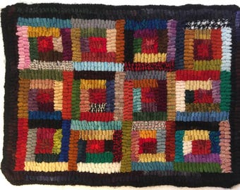 "Hand hooked wool rug 10""x 13"""