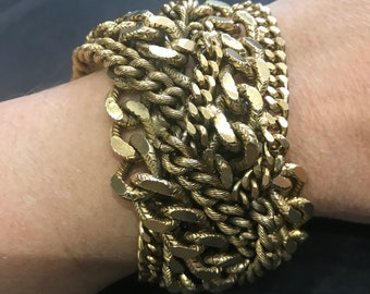 Vintage mixed chains cuff